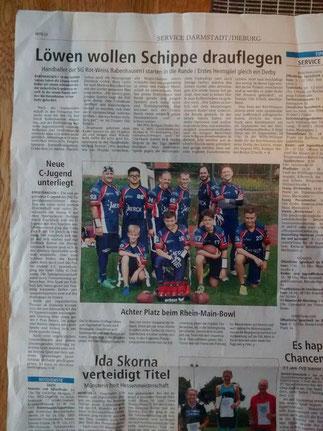 Artikel in der Offenbach Post zum Rhein-Main-Bowl 2015