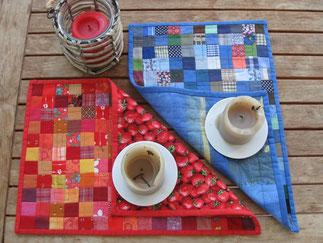 Tischset aus Patchwork mit Quadrat-Mustern.