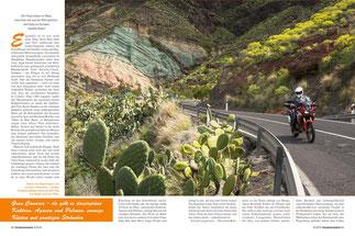 """Hinter dem Regenbogen: Los Azulejos (""""Kacheln"""") - farbige Eruptions-ablagerungen auf dem Weg von Mogán nach La Aldea"""