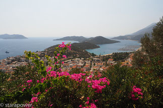 Blick zurück auf Kaş und die vorgelagerten Inseln