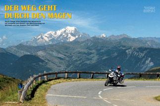 Am Col de la Madeleine mit Blick auf den Mont Blanc