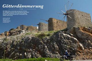 Zeitzeugen: Auf der Passhöhe des Ambelos Afhin stehen die Ruinen von Windmühlen und erinnern an Lasithis Geschichte als Kornkammer Kretas.