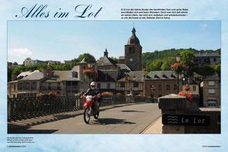 Lässig über den Lot: Schieferfarbene Häuser in Saint-Geniez-d'Olt laden zum Brückenschlag und Verweilen ein.