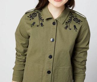 veste kaki femme avec broderie