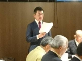 事務局の友澤先輩による議事進行。