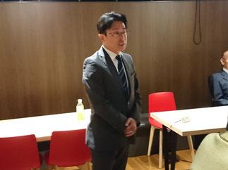 神戸市会議員選挙初当選を果たされた平野先輩による挨拶。