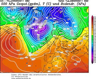 Abb. 1 | Mit der Geopotentialverteilung lassen sich lang- und kurzwellige Bewegungssysteme erkennen. | © Wetterzentrale.de