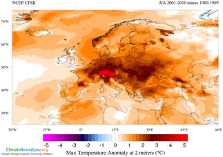 Abb. 6 | Änderung der durchschnittlichen Tageshöchsttemperaturen im Sommer (Vergleich: 2001/2010 - 1980/1989) | Source: Image obtained using Climate Reanalyzer (http://cci-reanalyzer.org), Climate Change Institute, University of Maine, USA.