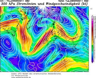 Abb. 2 | Der Strahlstrom bildet genau das in der Geopotentialkarte dargestellte Wellenmuster. | © Wetterzentrale.de
