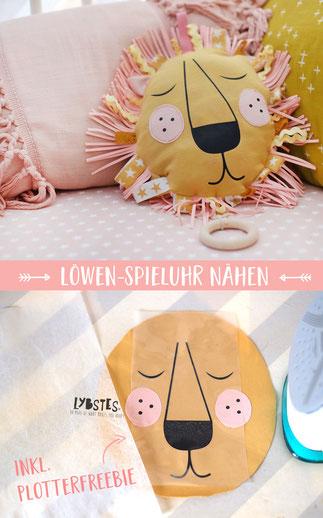 Das möchte ich auch nähen! Eine Löwen-Spieluhr für's Baby! In Senfgelb und Rosa.