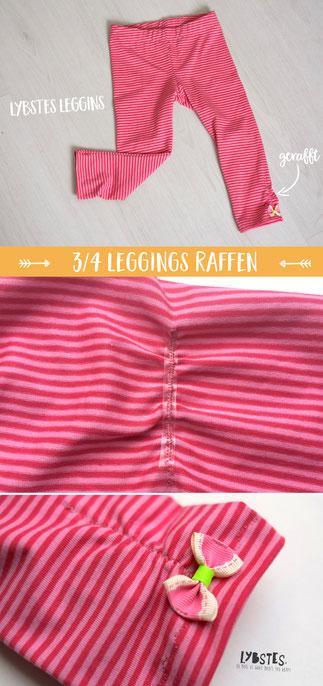 Lybstes Nähanleitung für Pinteres: Leggings raffen, 3/4 Leggings Raffung