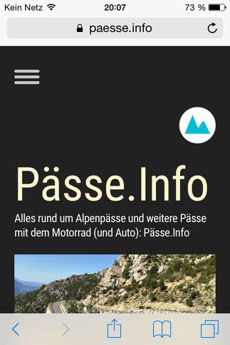 Screenshot 1 Pässe.Info-Web-App für iPhone