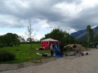 Herausforderung Wetter - Workshop Lehmofenbau