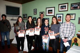 v.l.: Lena Kluthe, Alena Niesen, Luisa Tadayon, Leah Reiter, Chalotte Heib (U18)