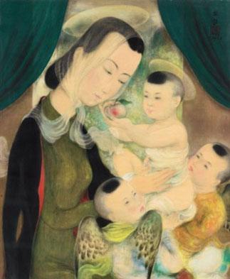 8 AVRIL 2008. SOTHEBY'S HONGKONG. VIERGE à L'ENFANT vers 1938. SCEAU DE L'ARTISTE en HAUT à DROITE 55 x 46cm