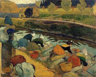GAUGUIN (1848-1903). Les lavandières à Arles. HUILE