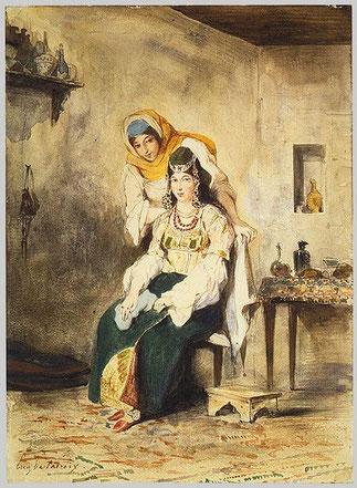 SAADA LA FEMME DE BEN CHIMOL et PRECIADA une de leur filles. .1832. E.DELACROIX (1798-1863)    1832