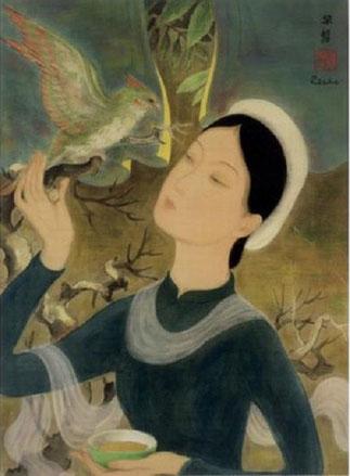 5 AOÛT 2009; SOTHEBY'S HONGKONG. FEMME AU PERROQUET vers 1938. ENCRE ET GOUACHE SUR SOIE. Signé en haut à droite avec le SCEAU CHINOIS DE L'ARTISTE.