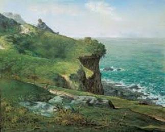 """Jean-François Millet.   Pastel sur papier 43,7cm/54,1cm.  """"Cliffs of Gréville"""" (1871) Ohara Museum of Art à Kurashiki (JAPON)   ."""