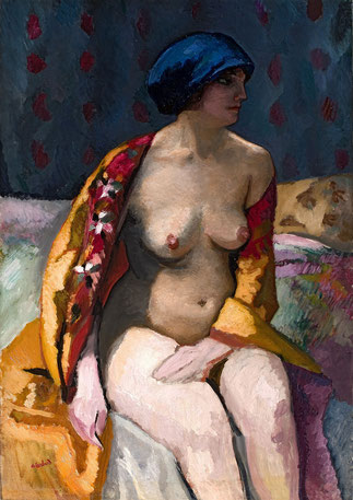VERS 1910/1912. NU AU BONNET BLEU Huile sur toile 92 X 65cm