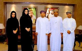 14 Juin 2011. Dubai Financial Market. Maryam Mohammed Fikri reçoit une délégation du Muscat Securities Market.