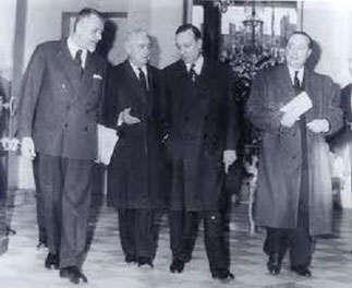 1962.  Robert Buron, Louis Joxe, Michel Debré, Jean de Broglie .