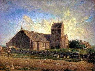 J.F.Millet.  Eglise de Gréville.  Huile 60cm/73,4cm.   Musée d'Orsay.