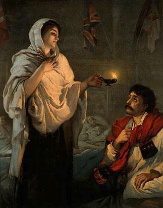"""FLORENCE NIGHTINGALE 1820-1910 """"LA DAME à LA LAMPE"""" DURANT LA GUERRE DE CRIMEE  par HENRIETTA RAE"""