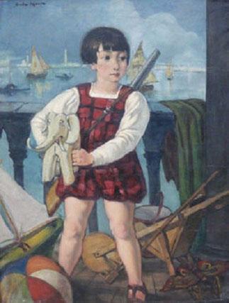 VENISE c.1927. PORTRAIT DE TITIEN, LE FILS DE L'ARTISTE.