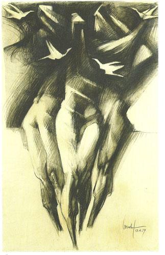 VOYAGE AU BOUT DE LA NUIT 1979. DESSIN AU FUSAIN SUR PAPIER 105 X 65cm. Collection de l'artiste.