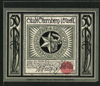 "RECTO. "" Billet nécessité Sternberg 1922 ""  . 50 Pfenny."