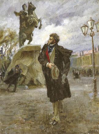 """"""" POUCHKINE ET LE CAVALIER DE BRONZE """" par Vladimir STOJAROV (1926 - 1973). TOILE DATEE  1946"""