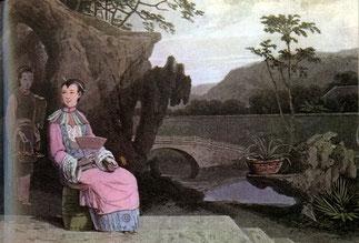Pastel d'une dame chinoise, par W. Daniell.