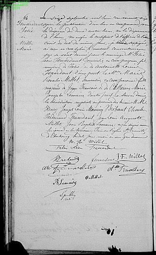 16 Septembre 1871. Cherbourg.  Mariage religieux de Léon Félix Feuardent et Marie Rosalie Millet.