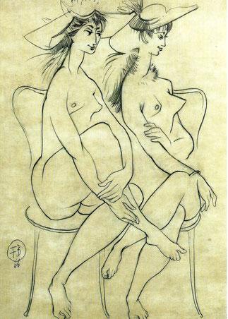 DEUX FEMMES NUES AU CHAPEAU 1966. DESSIN 60 X 50cm. Collection de l'artiste.