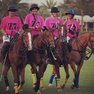 20 AVRIL 2013. LADIES POLO CUP : Helen Tatham, Sandra Schneider, Maitha, Marinetta Castegnolo