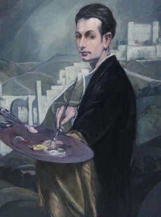 ANDRE MAIRE 1933. AUTOPORTRAIT AUX REMPARTS DE TOLEDE