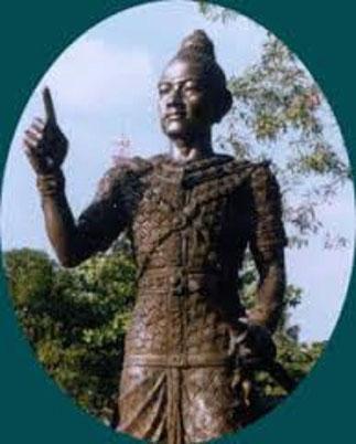 Statue du Fondateur du Royaume de LAN XANG, et Réformateur du Bouddhisme.  FA GNUM (1353-1374))