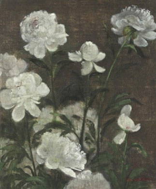 ^^^^PIVOINES. ENCRE ET GOUACHE SUR SOIE 55x46 cm ^ WHITE FLOWERS. HUILE SUR SOIE  61x46,5 cm >>>>>>>>>>>>
