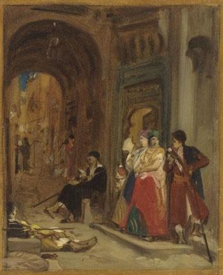 """""""LE SAMEDI DANS LE QUARTIER JUIF"""". Maroc1883. J.LECOMTE DU NOUY (1842-1923). Collection MAHJ"""