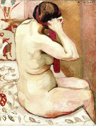 1911. NU ASSIS DE DOS ARRANGEANT SON RUBAN. Huile sur toile, signée en haut à gauche 92 X 73cm. Collection GALERIE PENTCHEFF.