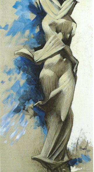 LE SILENCE 1985. DESSIN REHAUSSE DE GOUACHE 122 X 64cm  Collection de l'artiste.