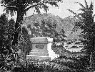 Tombe de Henri Mouhot. Aquarelle de Louis Delaporte 1867. Mission de reconnaissance du cours du Mékong avec Ernest Doudart de Lagrée et Francis Garnier.
