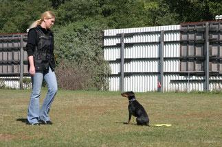 Barbara mit Jacky beim Training