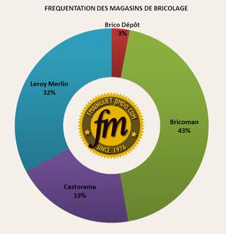 Pourcentage de fréquentation des magasins de bricolage