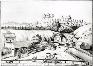 The drilling works at the waterfalls and the powder mills at the left. Drawing from the end of the 17th century.