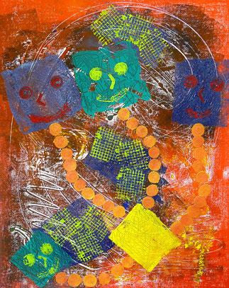 Trickreich: Monotypie, Materialdruck, Zeichnung auf Papier, 55 x 44 cm, 2011