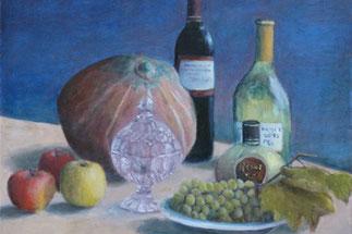 Stilleben mit Früchten und Wein, gemalt von Martin