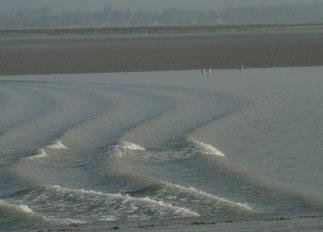 Tidal Bore on the Sélune River France.