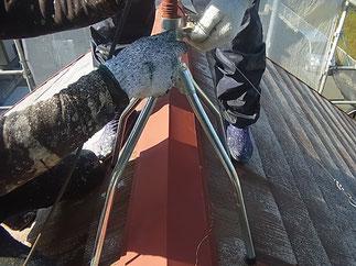 熊本T様家。アンテナ架台が錆びて腐食していた為、新品に交換しました。※オプション